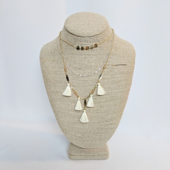 and eawy Jewelry - 💢3 for $25💢 Gold & White Tassle Necklace